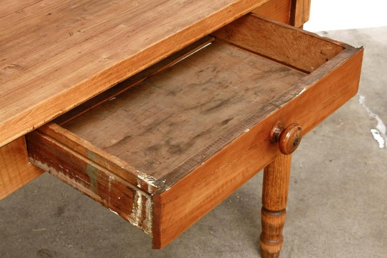 Rustic Farmhouse Oak Work Table or Console For Sale 7