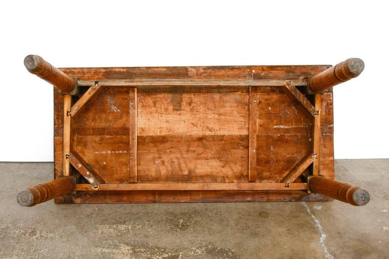 Rustic Farmhouse Oak Work Table or Console For Sale 11