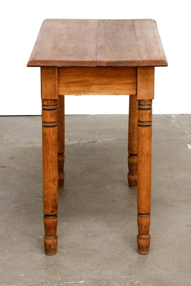 Country Rustic Farmhouse Oak Work Table or Console For Sale