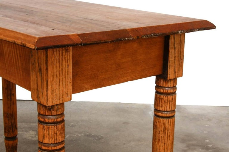 Rustic Farmhouse Oak Work Table or Console In Good Condition For Sale In Oakland, CA