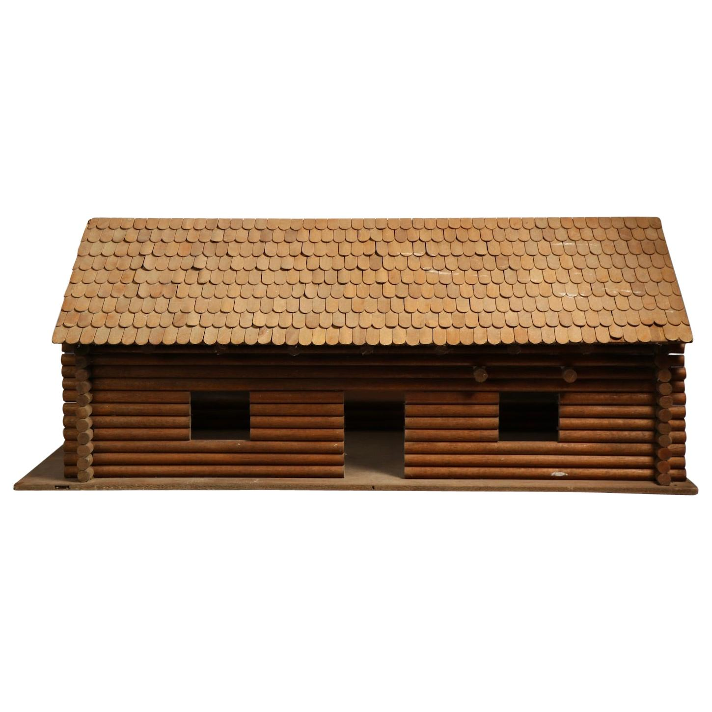 Rustic Folk Art Model Log Cabin