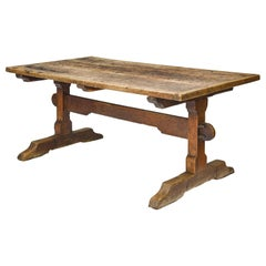 Rustic French 17th Century Oak and Chestnut Trestle / Dining Table