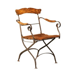 Rustic French 1870s Wood and Iron Garden Folding Chair with Scrolling Arms