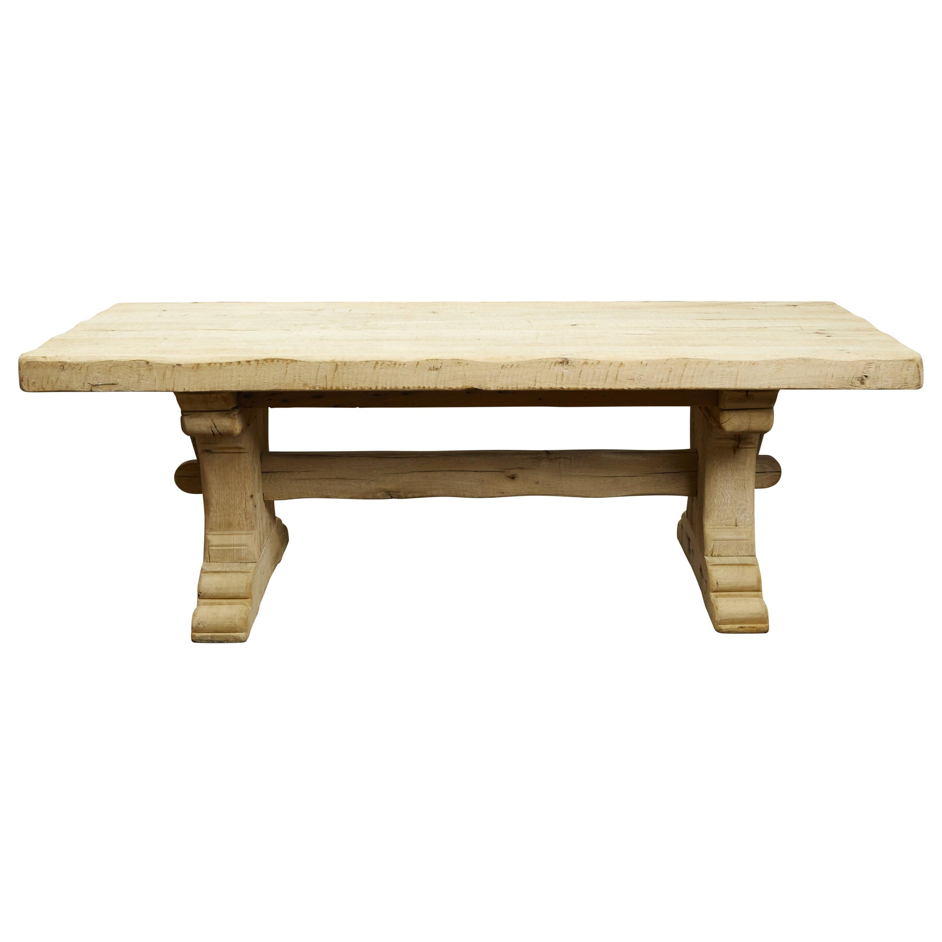 Rustic French 1880s Oak Farm Table with Trestle Base and Natural Patina