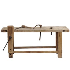 Rustic French 1920s Weathered Wood Workbench Établi with Iron Hand Crank