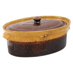 Rustic French 19th Century Covered Pâté Terrine with Brown and Gold Glaze