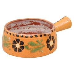 Rustic French 19th Century Jaspe Ware Pottery Serving Piece with Floral Décor