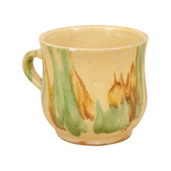 Rustic French 19th Century Pottery Mug with Yellow, Green and Rust Glaze