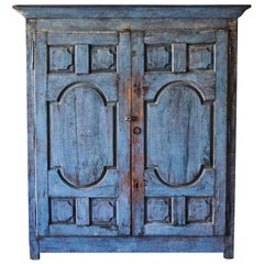 Rustic French 2-Door Cupboard Painted Blue with Carved Doors