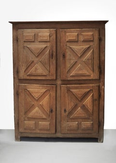 RUSTIC FRENCH BLEACHED OAK CUPBOARD - 18thC Large Four Door Cupboard