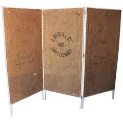 Rustic French Burlap Grain Sacks and Wood Folding Screen / Room Divider