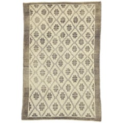 Rustic French Country Style Vintage Turkish Oushak Rug, Kitchen, or Entry Rug