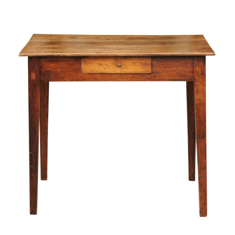 Rustic French Elm Side Table with Single Drawer and Tapered Legs, circa 1870