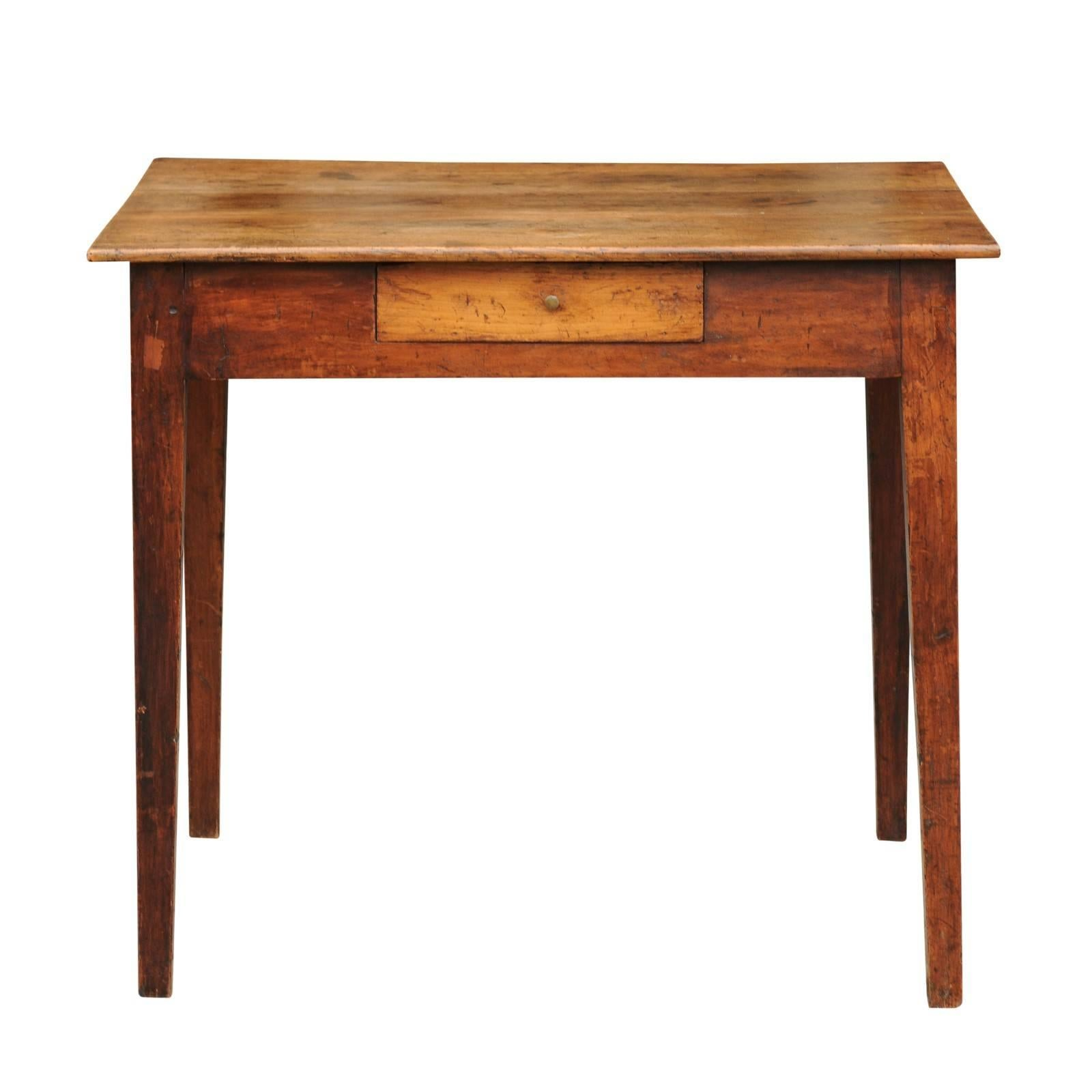 Delicieux Rustic French Elm Side Table With Single Drawer And Tapered Legs, Circa  1870 For Sale