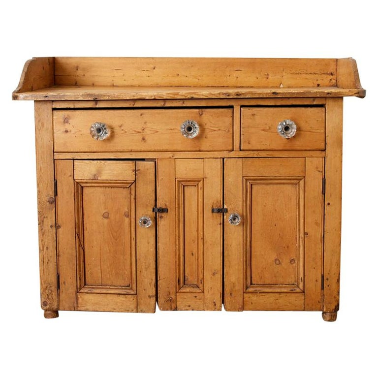 19th Century Country French Painted Washstand Cabinet
