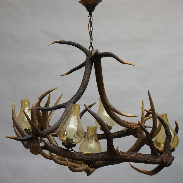 Rustic French Five-Light Antler Chandelier, circa 1950 For Sale 4
