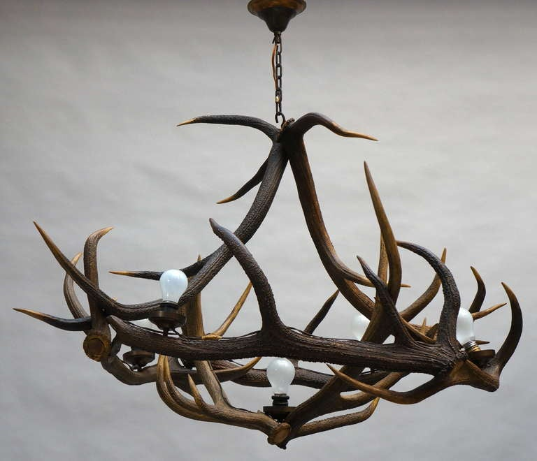 Gorgeous vintage French five-light authentic antler chandelier.  This awesome chandelier would be fantastic in most any room of the home.