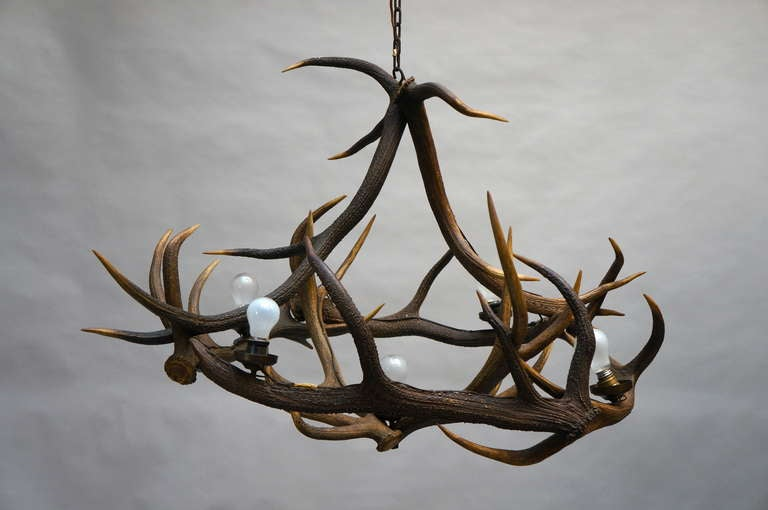 Hollywood Regency Rustic French Five-Light Antler Chandelier, circa 1950 For Sale