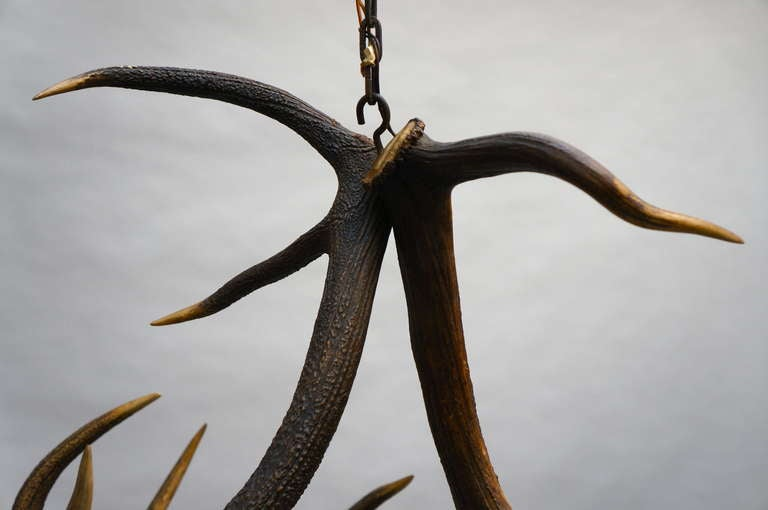 Rustic French Five-Light Antler Chandelier, circa 1950 For Sale 2