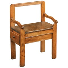 Rustic French Fruitwood Chair with Open Back and Lateral Drawer, circa 1820