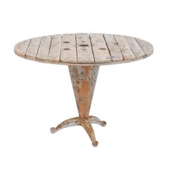 Rustic French Garden Table with Reclaimed Wood and Philippe Starck Style Base