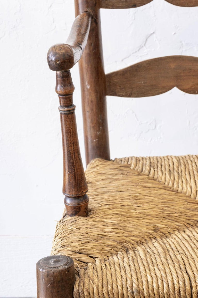 Rustic French Ladder Back Armchair For Sale 5
