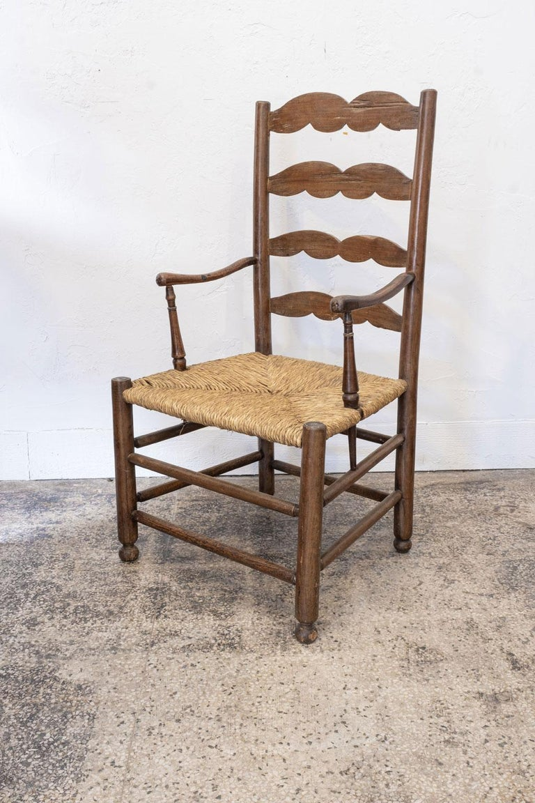 Rustic French Ladder Back Armchair For Sale 6