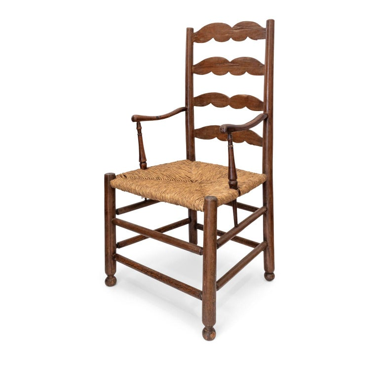 Rustic French Ladder Back Armchair For Sale 7
