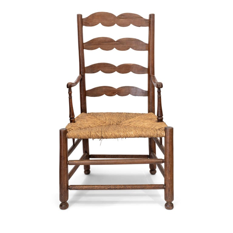 French Provincial Rustic French Ladder Back Armchair For Sale