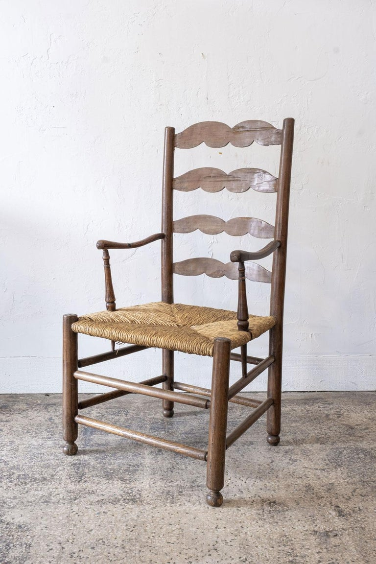 19th Century Rustic French Ladder Back Armchair For Sale