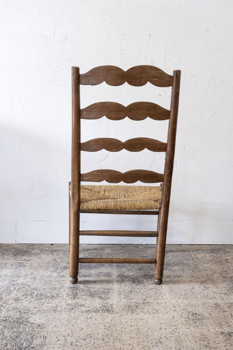Rush Rustic French Ladder Back Armchair For Sale
