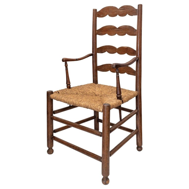 Rustic French Ladder Back Armchair For Sale 8