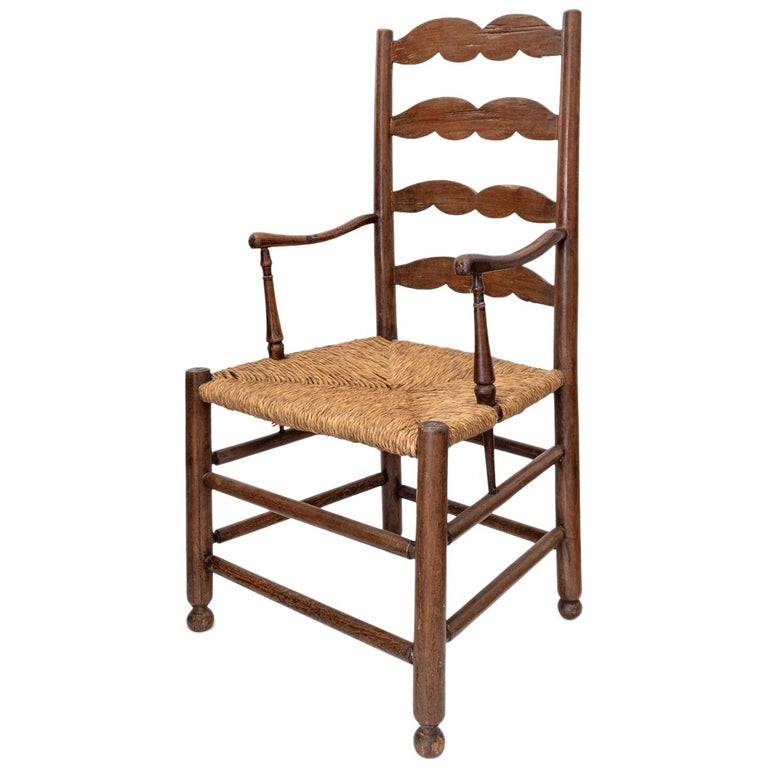 Rustic French Ladder Back Armchair For Sale