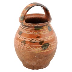 Rustic French Late 19th Century Pottery Jug with Wavy Lines and Large Handle