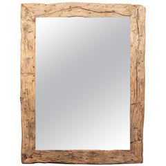 Rustic French Mirror Made from 19th Century Wood with Antiqued Glass