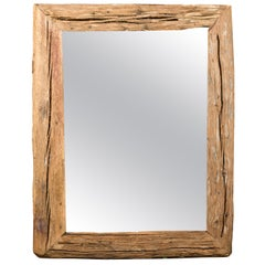 Rustic French Mirror Made from Early 19th Century Wood with Antiqued Glass