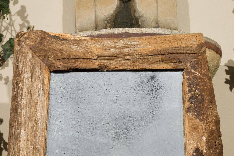 Rustic French Mirror Made From Mid 19th, Wood Rustic Mirror