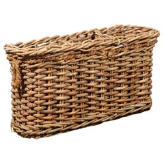 Rustic French Narrow Rectangular Partitioned Wicker Basket with Rope Handles