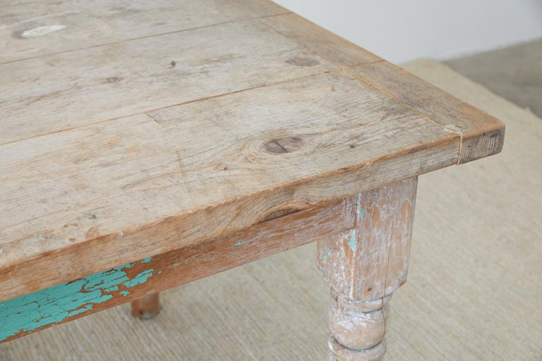 Rustic French Pine Country Farmhouse Dining Table For Sale 4