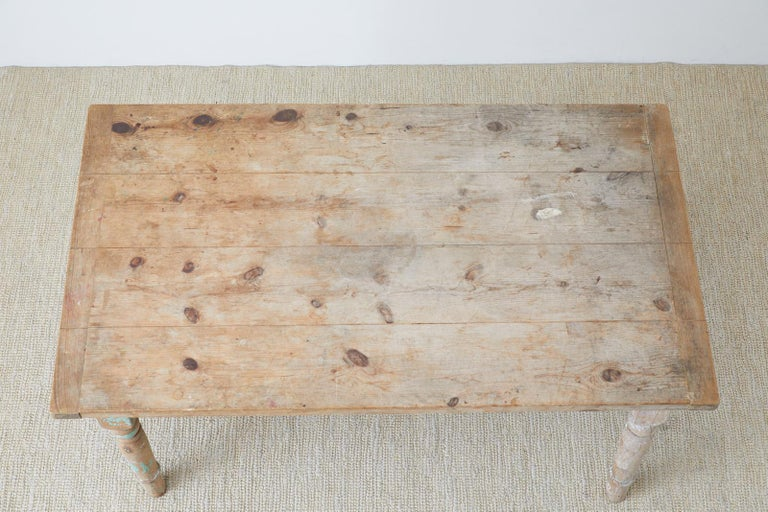 Rustic French Pine Country Farmhouse Dining Table For Sale 5