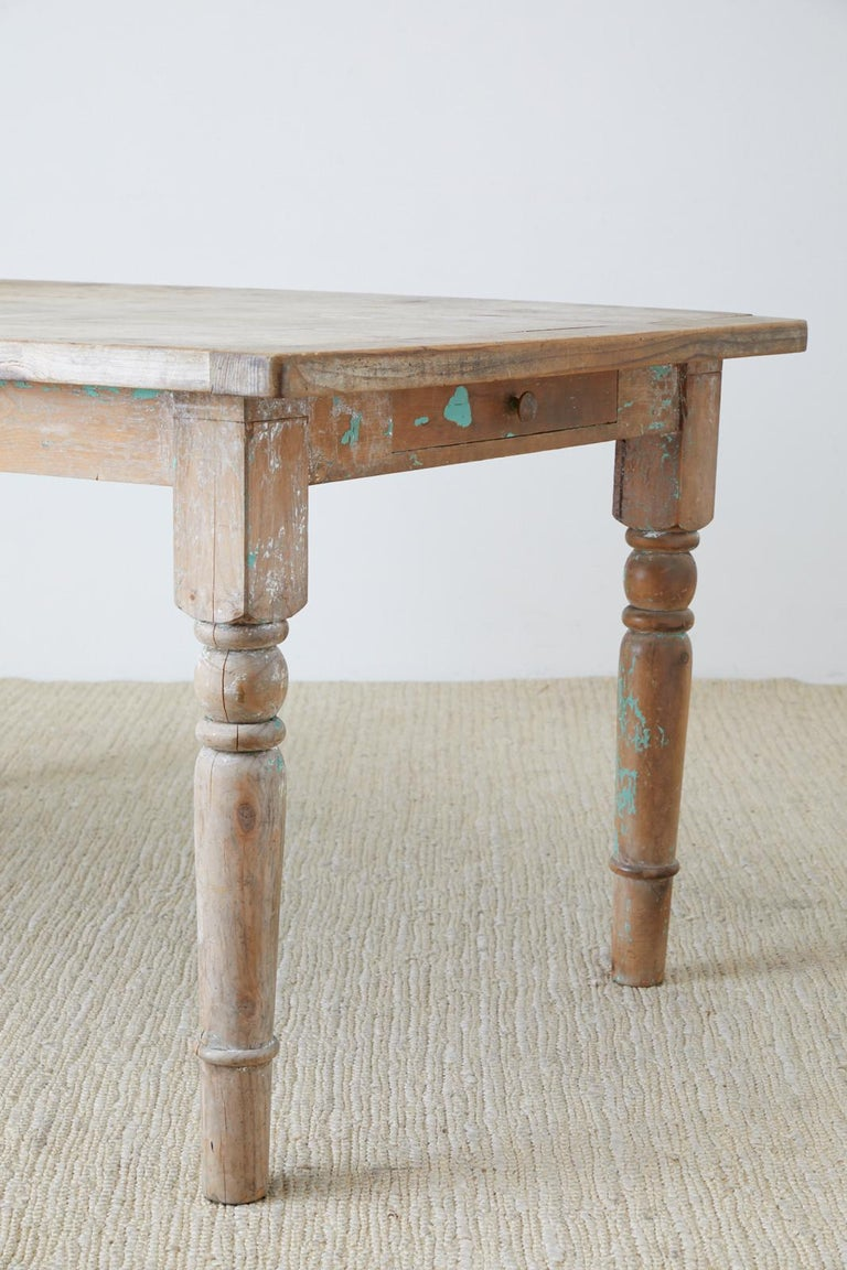 Rustic French Pine Country Farmhouse Dining Table For Sale 10