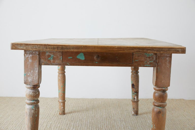 Rustic French Pine Country Farmhouse Dining Table For Sale 11