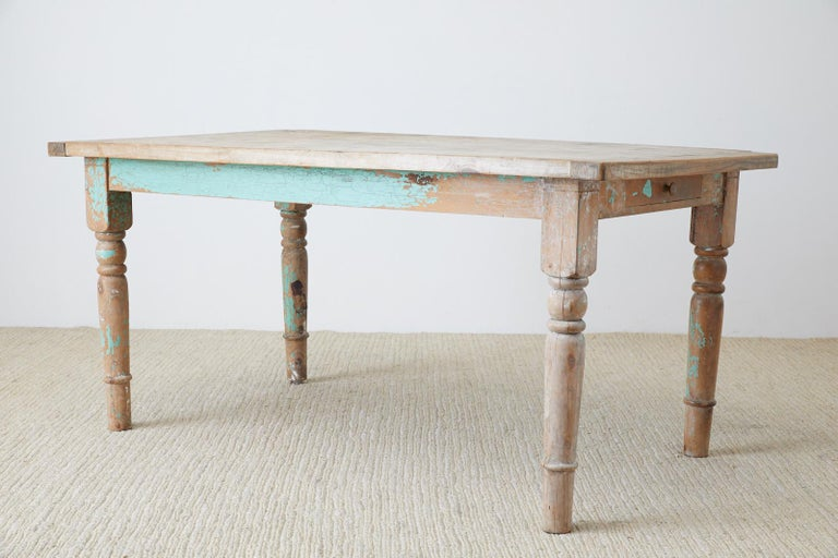 Hand-Crafted Rustic French Pine Country Farmhouse Dining Table For Sale