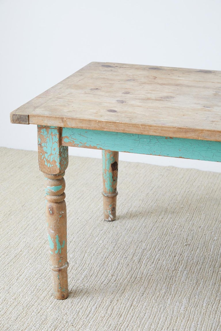 Rustic French Pine Country Farmhouse Dining Table In Distressed Condition For Sale In Oakland, CA