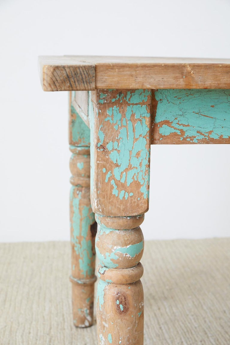 20th Century Rustic French Pine Country Farmhouse Dining Table For Sale