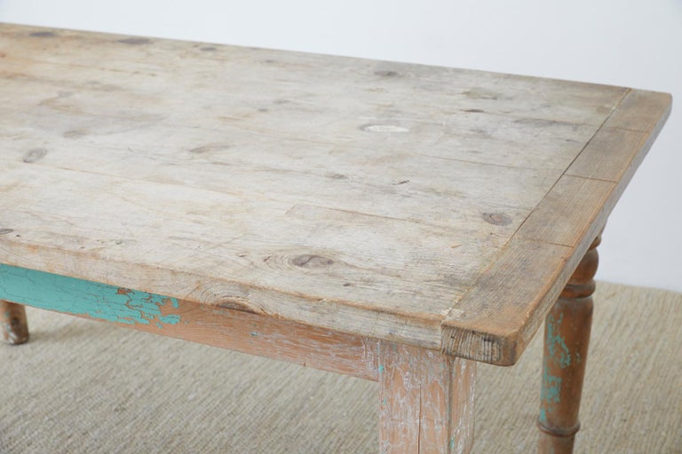 Rustic French Pine Country Farmhouse Dining Table For Sale 1