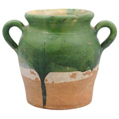 Rustic French Provincial 1850s Green Glazed Pottery Confit Pot with Two Handles