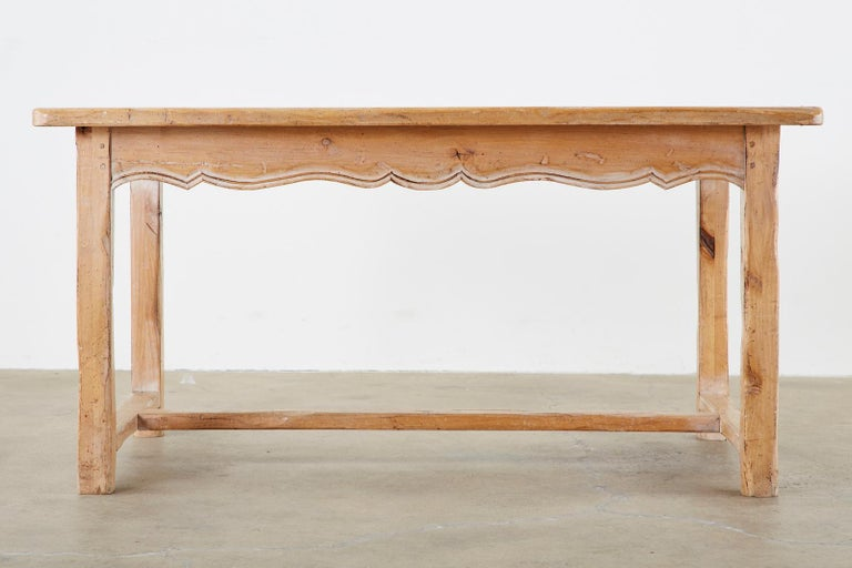 Rustic French Provincial Style Pine Farmhouse Dining Table For Sale 4