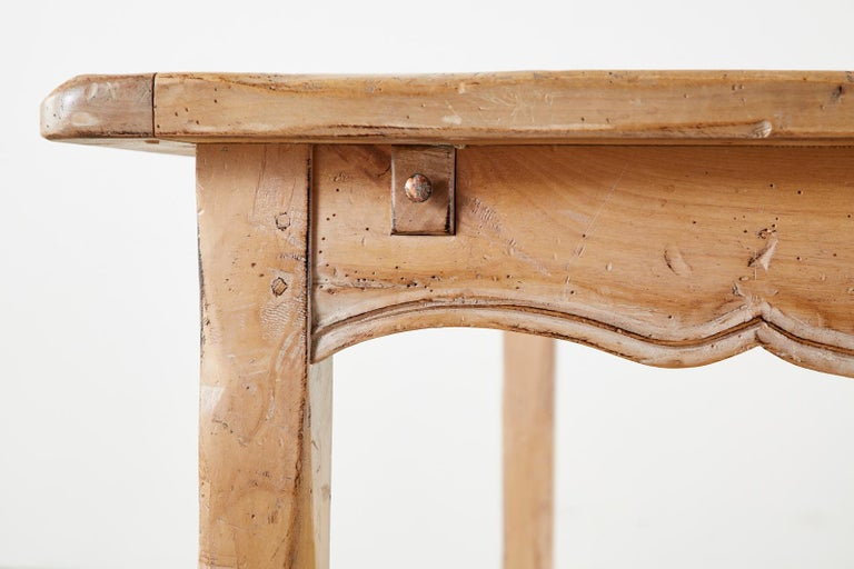 Rustic French Provincial Style Pine Farmhouse Dining Table For Sale 6