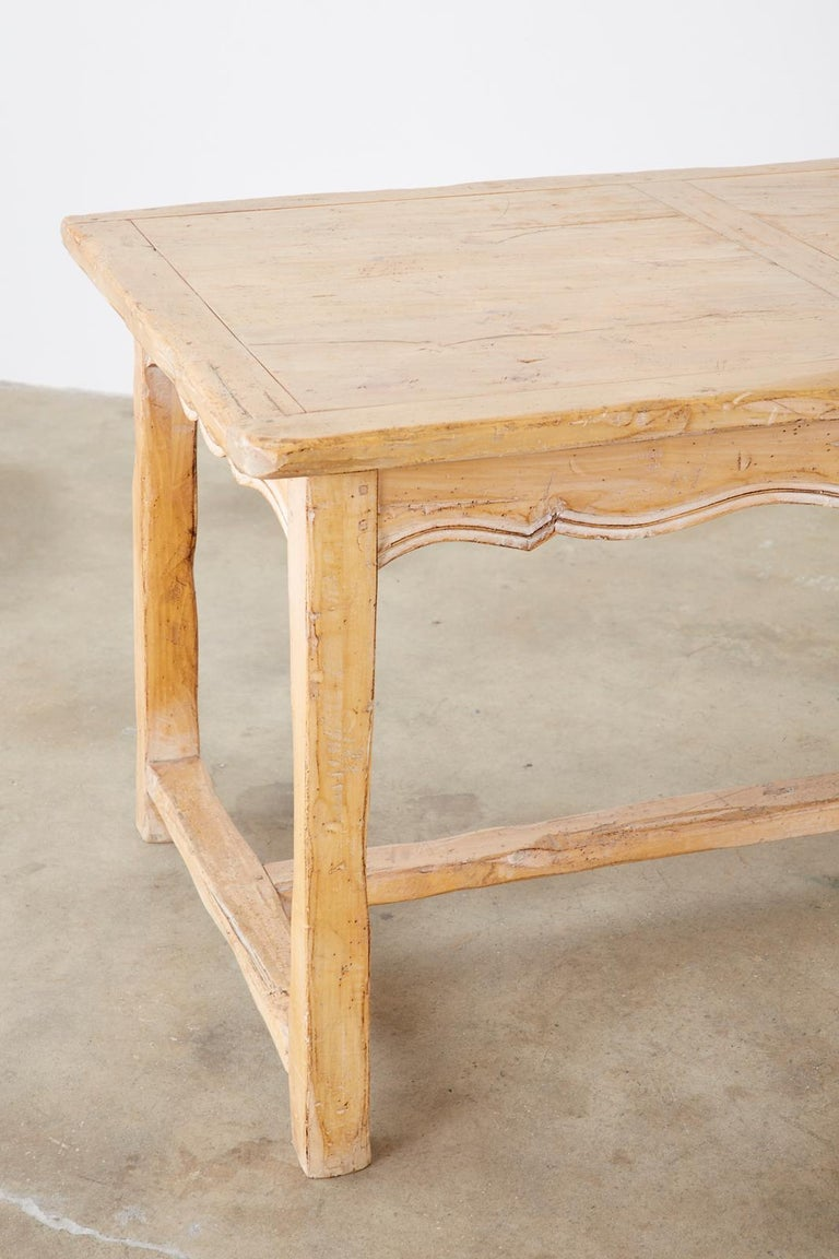 Rustic French Provincial Style Pine Farmhouse Dining Table For Sale 8